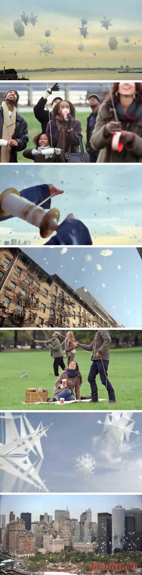 Первый снег или воздушные змеи? Учитесь отдыхать с удовольствием! Реклама Старбакс.