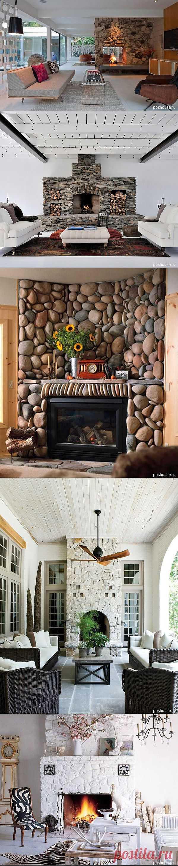 Идеи 2012 г. в дизайне интерьера гостиной комнаты с каменным камином  