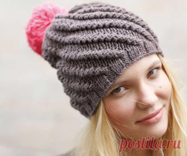 шапка с помпоном романтическое настроение вязаная спицами зимняя