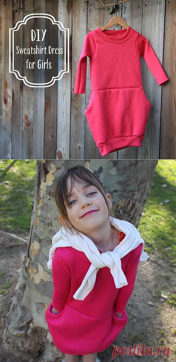 Платье для девочек из маминой толстовки (Diy) / Для детей / Модный сайт о стильной переделке одежды и интерьера
