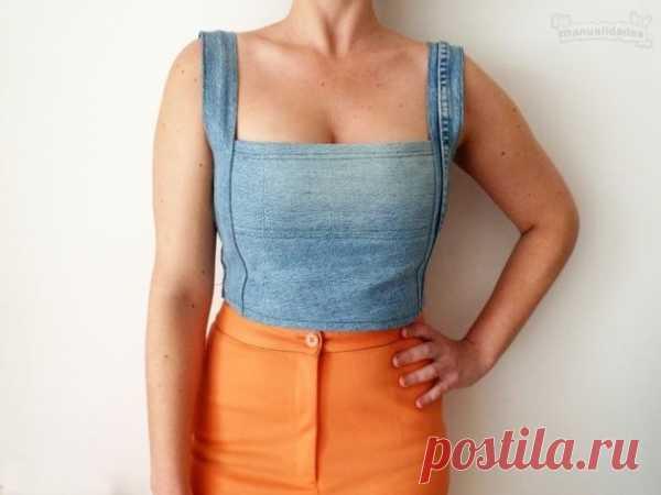 Топ из джинсов DIY / Переделка джинсов / Модный сайт о стильной переделке одежды и интерьера
