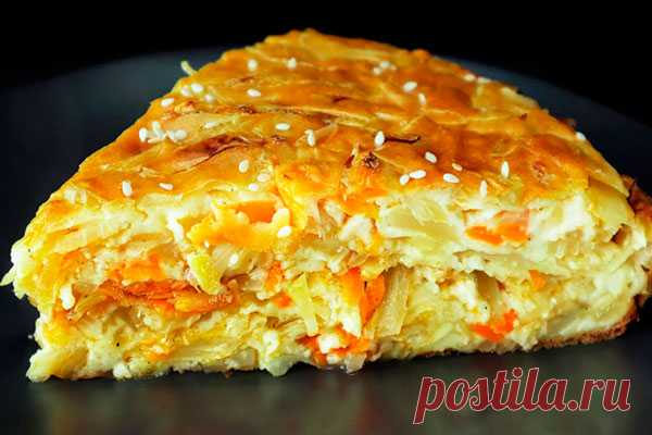 Очень вкусный капустный пирог - минимум теста, максимум начинки