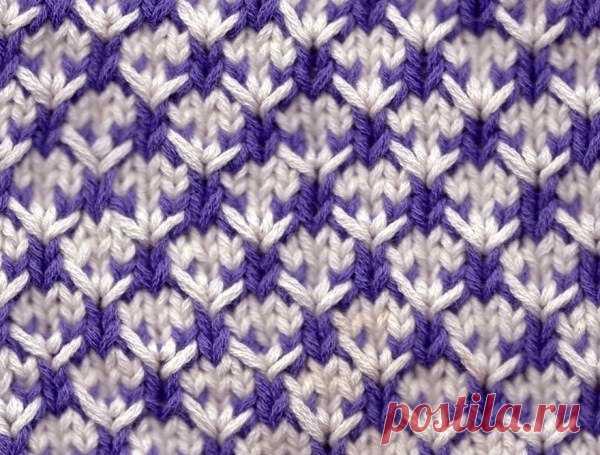 Интересный двуцветный узор спицами / Вязание / Модный сайт о стильной переделке одежды и интерьера