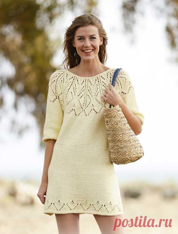 Платье спицами с круглой ажурной кокеткой - Портал рукоделия и моды