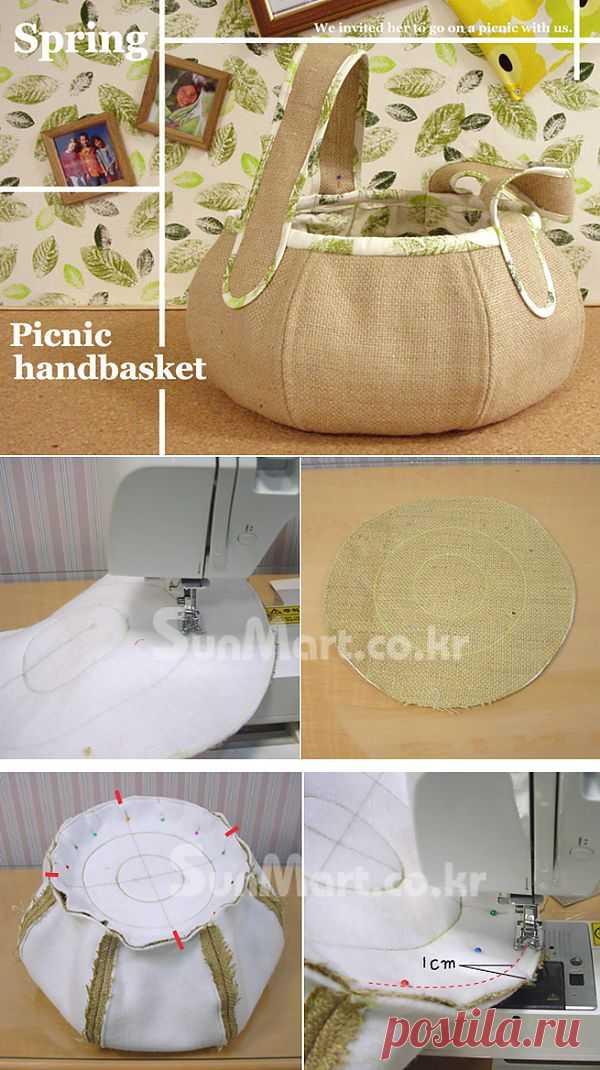 Корзинка для рукоделия из мешковины.. Сшить не хотите? В корзинку можно складывать ниточки, клубочки для вязания, фурнитуру для шитья и многое другое.