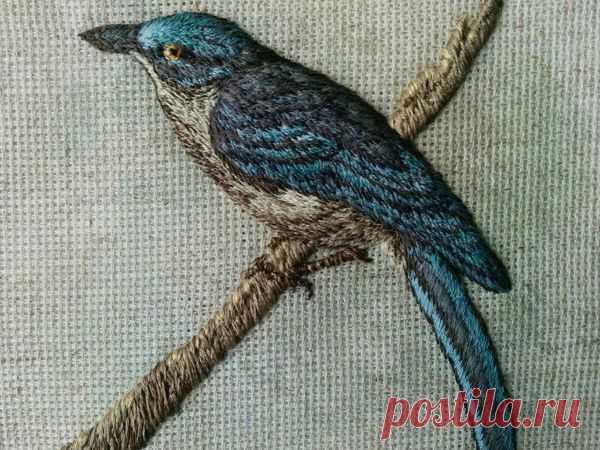 Авторская вышивка объемной птицы гладью  «Лесная красавица»