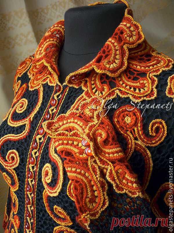 Вяжем крючком оригинальный жакет с коловратами в цветах хохломской росписи - Ярмарка Мастеров - ручная работа, handmade