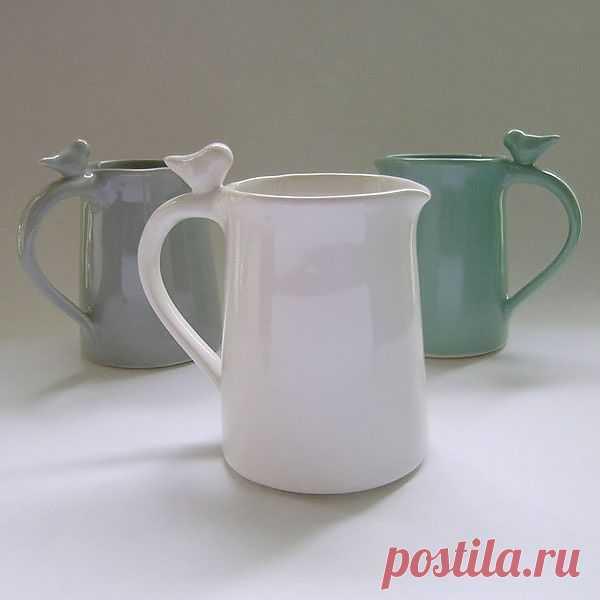 Молочник и чашки с птичками / Сервировка стола / Модный сайт о стильной переделке одежды и интерьера