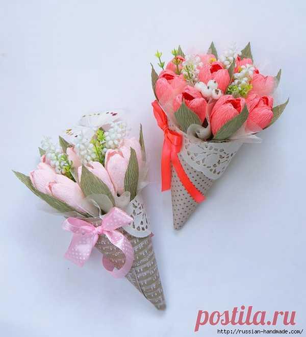 идея к 8 марта кулечки своими руками для цветов из бумаги цветы