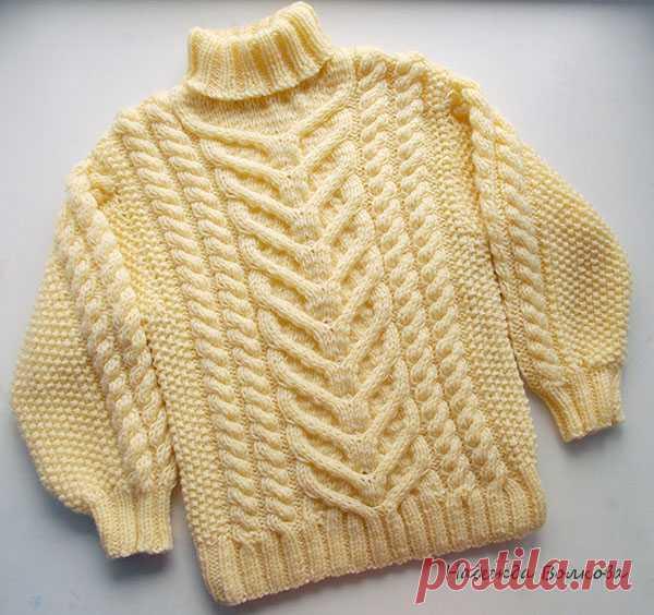 El jersey con las trenzas para el muchacho. MK de Nadezhda Volkovoy