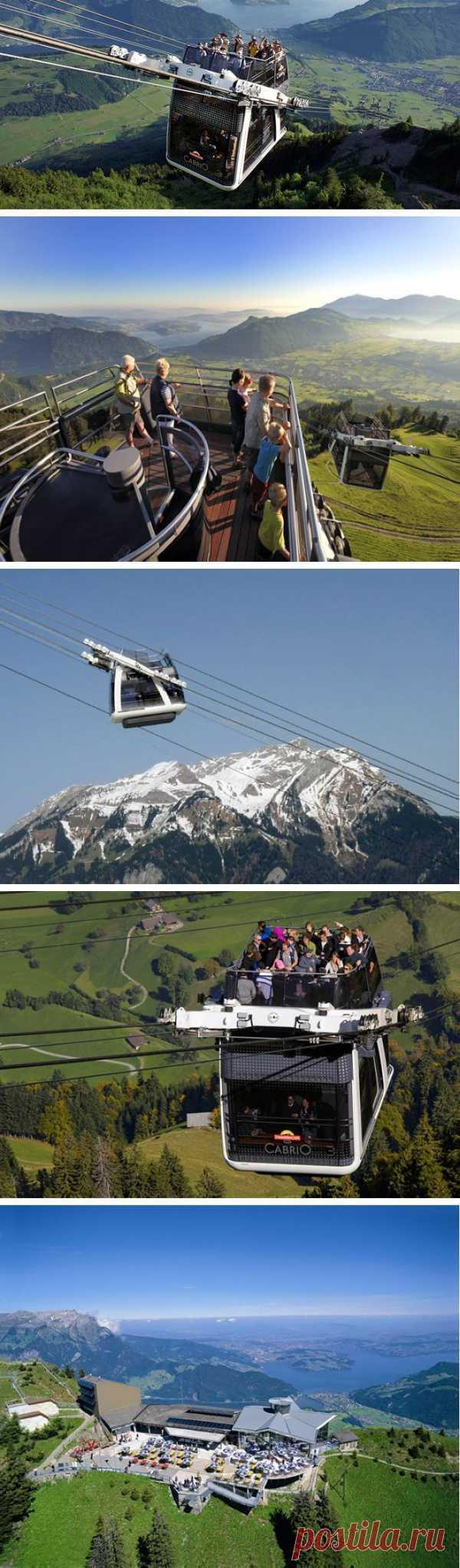 Кабриолет — первый в мире двухэтажный фуникулер. Швейцария
