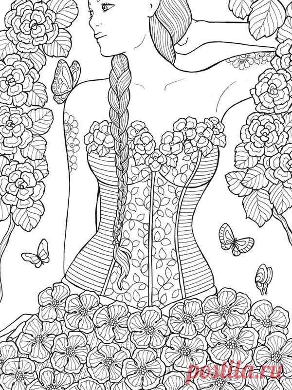 раскраски для взрослых девушки (37) | Рисовака | КАРТИНКИ ...