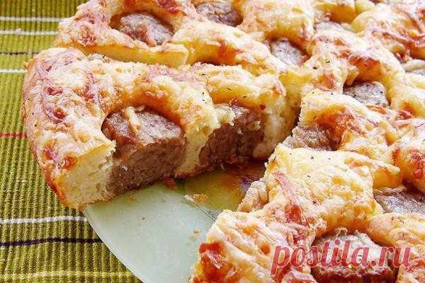 Пирог с фрикадельками!! Ну очень вкусно!