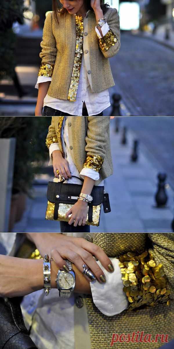 Жакет с пайетками + сумка / Жакеты / Модный сайт о стильной переделке одежды и интерьера