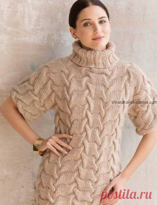 Объёмный свитер с короткими рукавами. Спицами. / shkatulka-rukodeliya.com