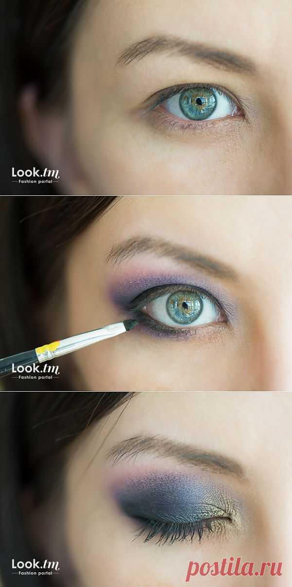 Фотоурок: Smokey eyes в фиолетово-золотистых тонах