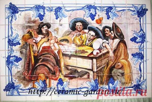 панно застолье ручная роспись  из серии виноделие