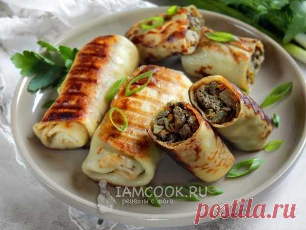 Блины на сыворотке с начинкой (печень+грибы) — рецепт с фото Тонкие блины из теста на сыворотке с аппетитной начинкой.