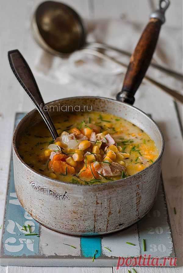 Вкусный, сытный и простой суп с тыквой, кукурузой, беконом и картофелем