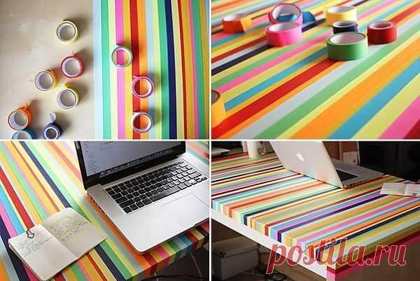 Апгрейдим свой стол в цветную зебру с помощью цветного скотча