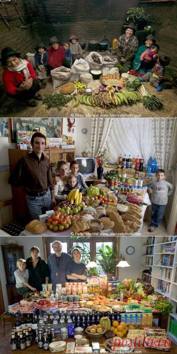 Что едят на земле. Сколько среднестатистическая семья в разных странах мира тратит в неделю. 33 фото