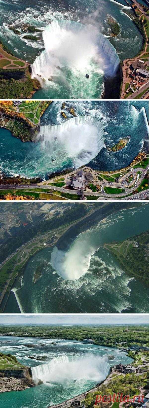 Это самый быстродвижущийся водопад на планете! Через него проходит около 20% всей питьевой воды в США. Ниагарский водопад. Вид сверху.
