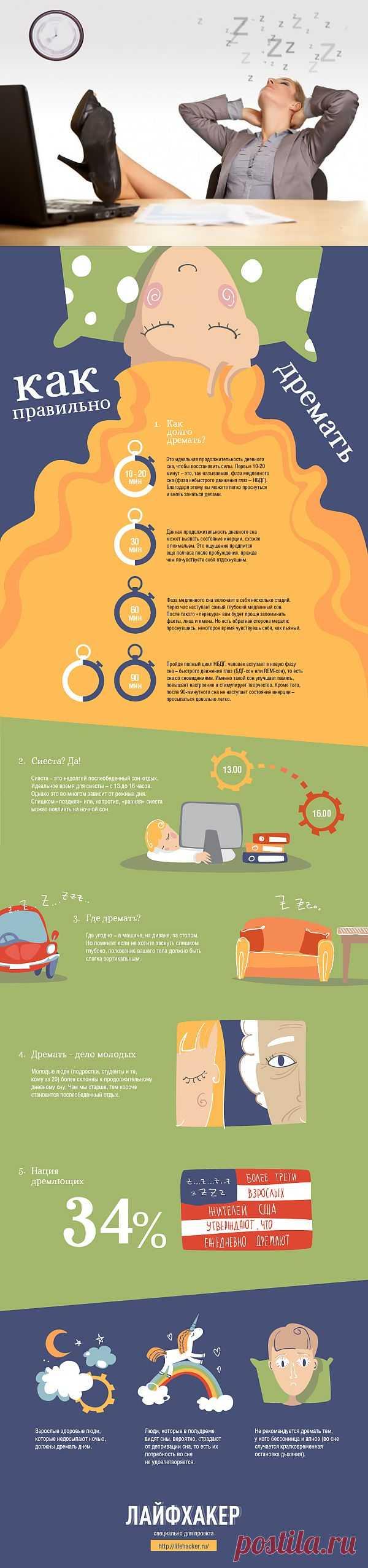 ИНФОГРАФИКА: Как правильно дремать? | Лайфхакер