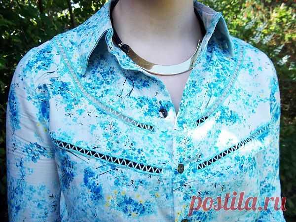 Украшаем рубашку стеклярусом (DIY) / Блузки / Модный сайт о стильной переделке одежды и интерьера