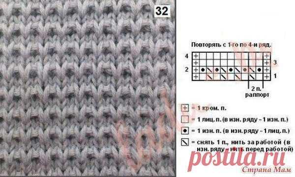 Крупный узор спицами   Крупный узор спицами для вязания пуловера — как связать  Огромным преимуществом вязания изделий крупными узорами является то, что вяжутся такие вещи достаточно быстро, а выглядят изделия связанные такой вязкой достаточно рельефно и современно. Рапорт, приведенного ниже узора, составляет всего две петли. В высоту рапорт состоит из четырех рядов. Чтобы связать такой пуловер приготовьте спицы не менее №5, а лучше №6-№8.   Описание узора:   1 ряд- чередо...