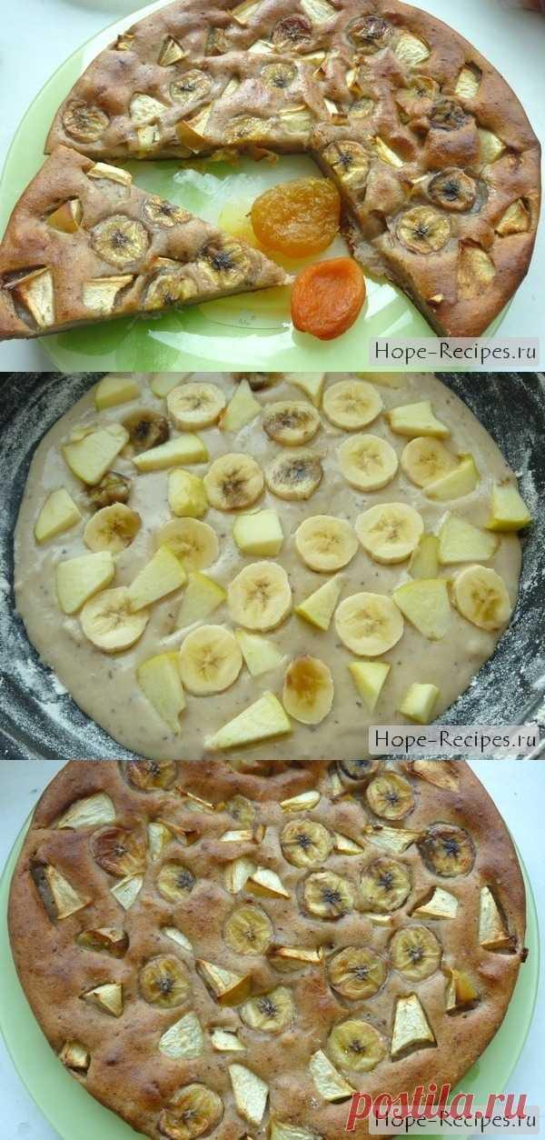 Быстрый пирог с бананами (рецепт без яиц и молока)