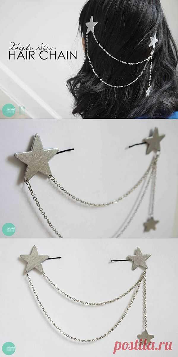 Двойная заколка с цепочкой (Diy) / Украшения для волос / Модный сайт о стильной переделке одежды и интерьера