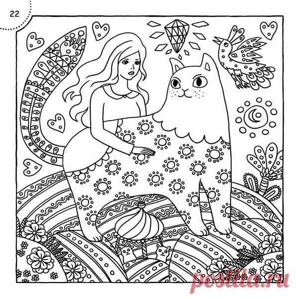 Сказочный котик из раскраски «Творческий приступ»