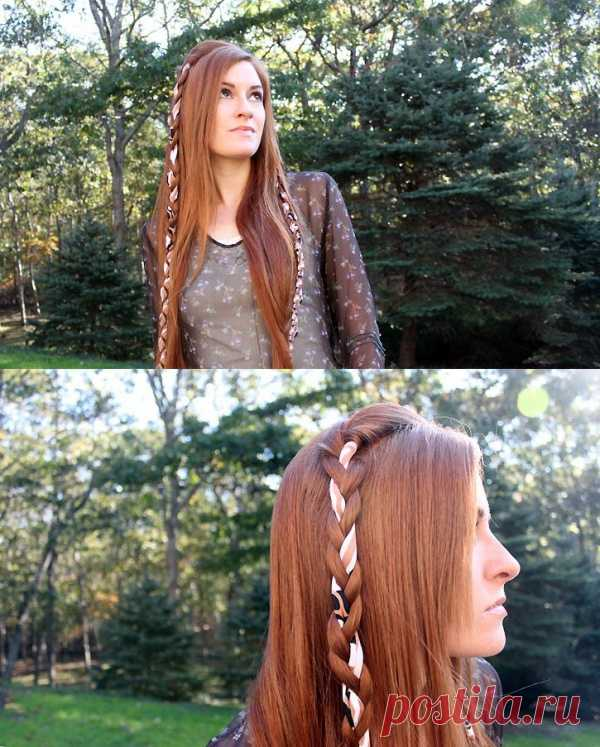 Original hairdress with a tape