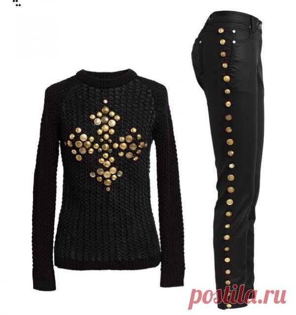 Свитер и джинсы с пуговицами (Diy) / Свитер / Модный сайт о стильной переделке одежды и интерьера