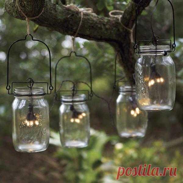Баночки со светлячками - романтический уют для сада и дачи.