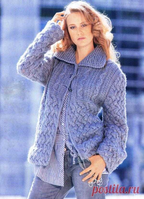 Жакет с плетеным узором | Шкатулочка для рукодельниц