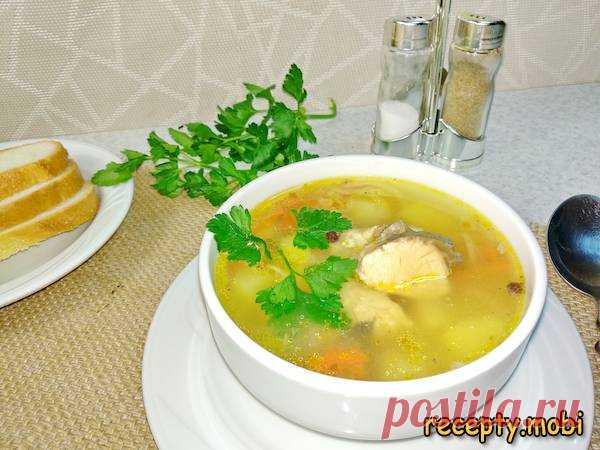 Суп из консервов горбуши с картофелем и рисом  ✅Ингредиенты картофель – 4-5 шт; морковь (средняя) – 1 шт; консервы горбуши – 1 банка; репчатый лук (средний) – 1 шт; рис – 60 г; душистый перец – 5 или 6 шт; горький перец – 5 или 6 шт; зелень петрушки – 2-3 веточки; лавровый лист – 1 или 2 шт; соль – по вкусу; растительное масло – для обжарки овощей; вода – 1,5 л.