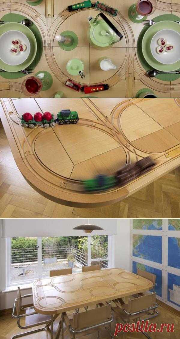 Стол с железной дорогой