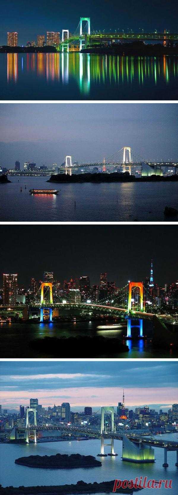 Радужный мост в Японии. На тросах держащих мост установлены лампы, которые освещают мост красным, белым и зелёным цветом каждую ночь. И зрелище это просто восхитительно.
