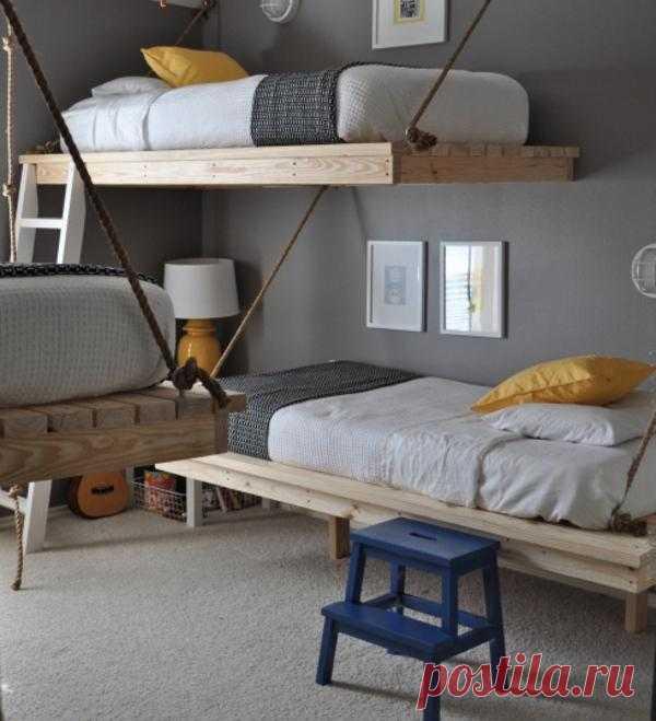 Висячие кровати. Уникальный дизайн спальни мальчиков.