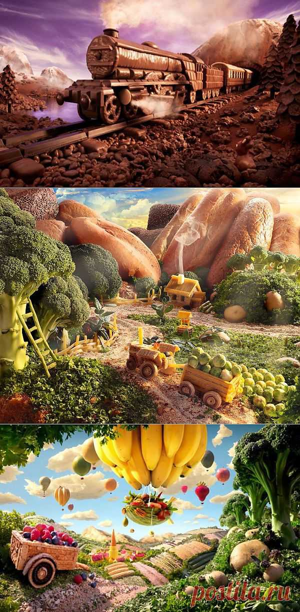 Необычные пейзажи из еды. Фотограф и создатель пейзажей из еды Карл Уорнер использует свежие фрукты, овощи и мясо, создавая невероятные картины.