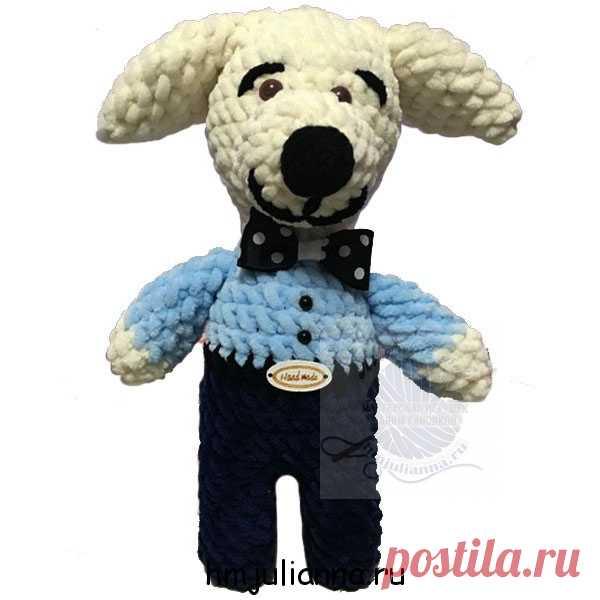 Джентльмен мягкая игрушка собачка, плюшевая, 25 см в рубашке.Плюшевый мир Мастерская игрушек Анны Ганоцкой