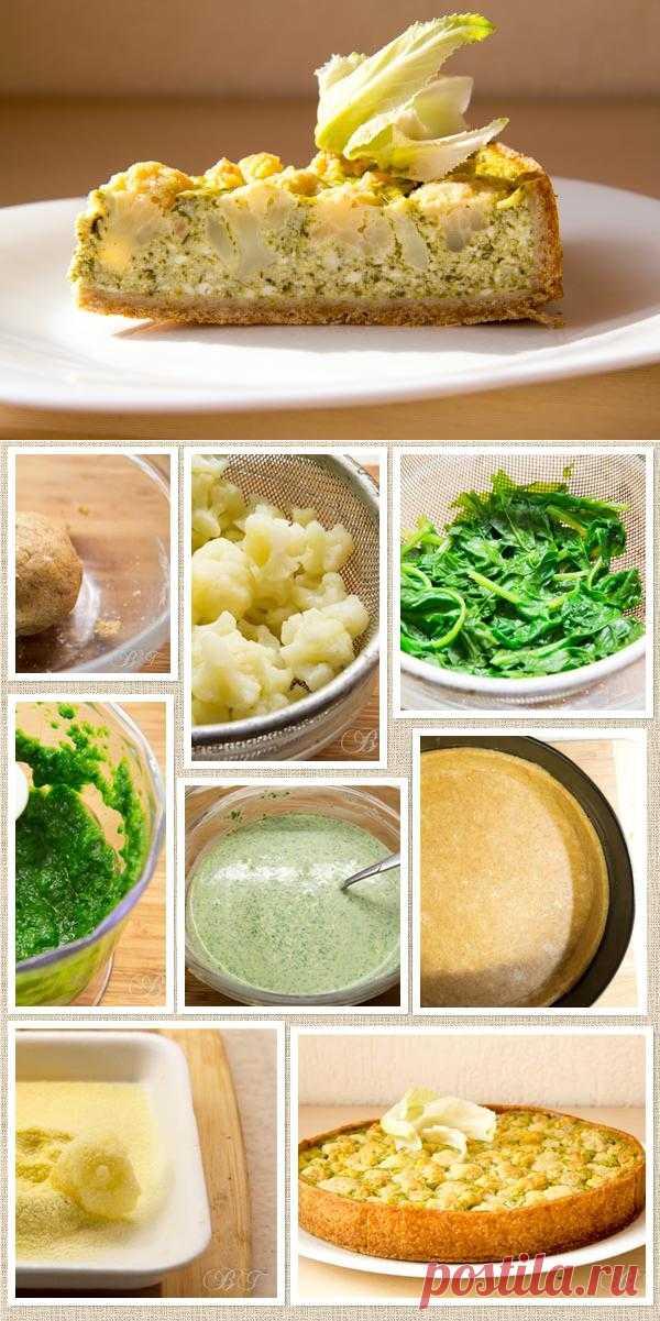 Киш с творогом, шпинатом и цветной капустой.