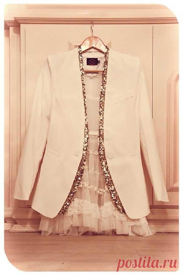 Идея быстрого преображения жакета к вечеру! / Жакеты / Модный сайт о стильной переделке одежды и интерьера