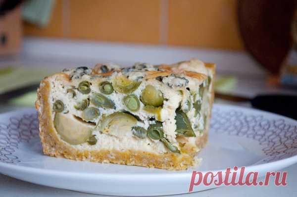 овощной пирог с творожной заливкой
