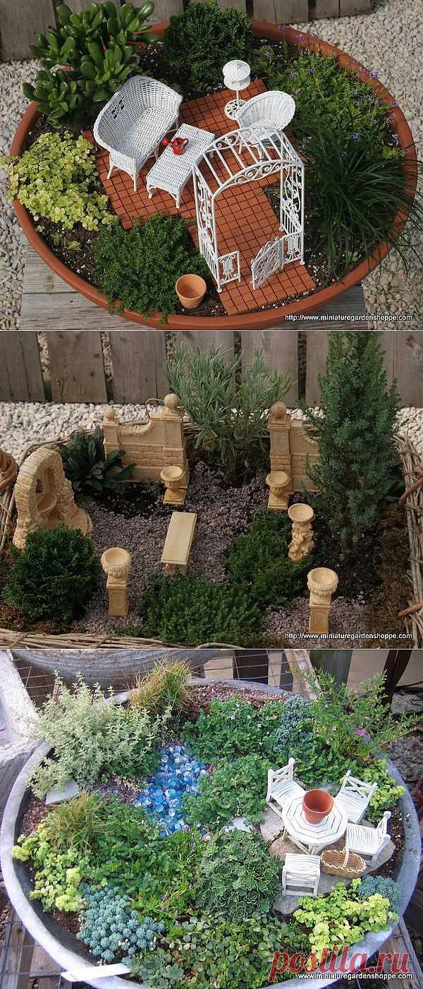 Миниатюрный сад.. Это изумительное украшение для Вашего дома, балкона или веранды. Миниатюрный сад - это оригинальный способ показать необъятность мироздания на очень маленькой площади.