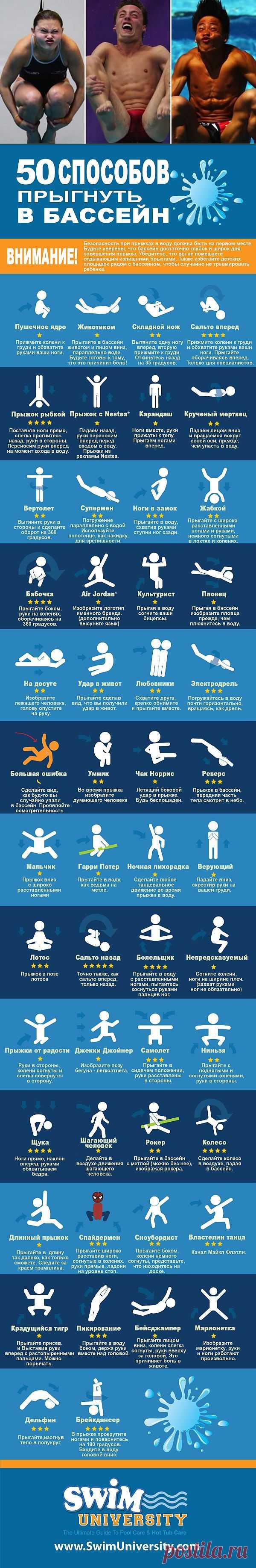 ИНФОГРАФИКА: 50 необычных способов прыгнуть в бассейн   Лайфхакер