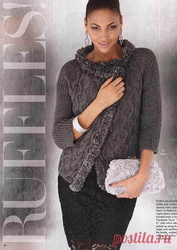 Вязание жакета с отделкой рюшами, модель 11, Vogue Early Fall 2012