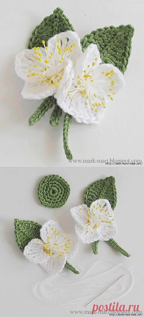 Цветы жасмина крючком. Схема и описание