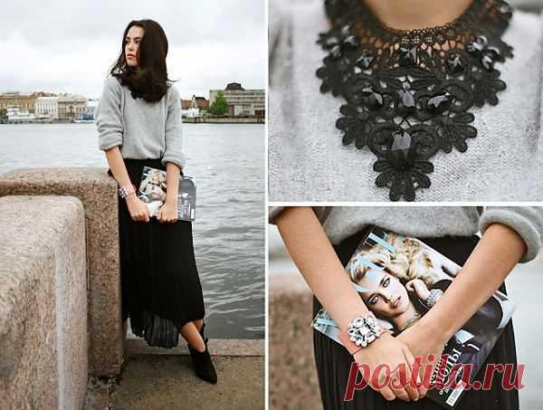 Декорированный вырез / Свитер / Модный сайт о стильной переделке одежды и интерьера